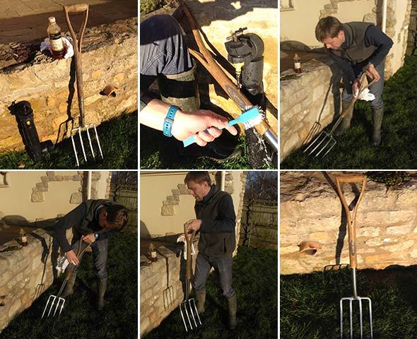 oiling garden tools